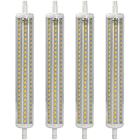 MENGS® Pack de 4 Bombilla lámpara LED 15 Watt R7s-J189 189mm,144x2835 SMD, Blanco Cálido 3000K, AC