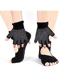 Vococal - 2 pares Set de Calcetines y Guantes Elástico sin Dedos - Antideslizante,Transpirable - para Yoga Pilates Ejercicio Deporte Mujer,Negro