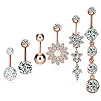 6pcs/set Stainless Steel Belly Button Rings Navel Nail Rings Body Jewelry Piercing 14G/1.6mm for Men Women,Rose Gold