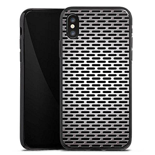 Apple iPhone X Silikon Hülle Case Schutzhülle Blech Metallic Look Silikon Case schwarz