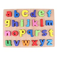 FLAMEER Kids Wooden Alphabet Blocks ABC Lowercase Letter Puzzle Board Educational Toy Baby Gift
