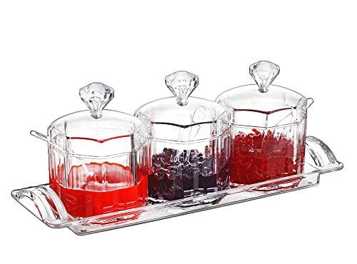FOLOBE Premium Qualität Klar Acryl Gewürz Gewürzbox mit Löffel Gewürz Salz Pfeffer Gewürzdosen Küche Zubehör Marmelade Flaschen