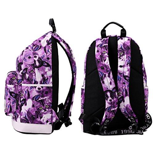 Mocha weir JIAYBL Schultern Kinder Schultaschen Rucksack Hochschule Mädchen Canvas Pack reisen (Erdbeere) lila