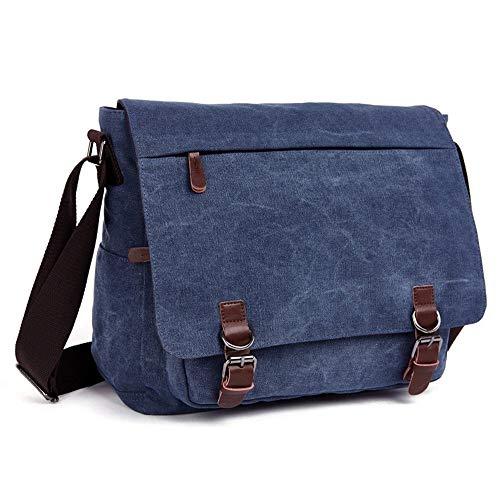 Herren Umhängetasche, Laptop Messenger Bags, 16 Zoll Vintage Umhängetasche Canvas-Tasche for Schule und Beruf, mehrere Taschen (Color : Blue, Size : Large) -