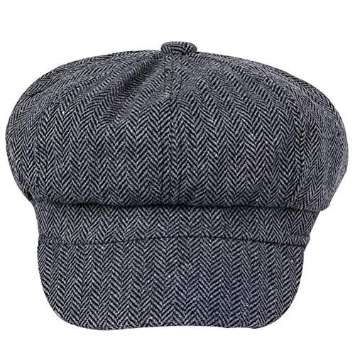 TENDYCOCO Zeitungsjunge Hut Schirmmütze Cabbie Hut Fahren Hut irischen flachen Hut für Frauen Lady Female Grey