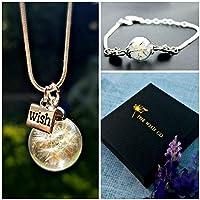 Collana e bracciale di tarassaco Set regalo - ciondolo in argento sterling braccialetto dente di leone set di gioielli per ragazze regalo di compleanno per amico sorella