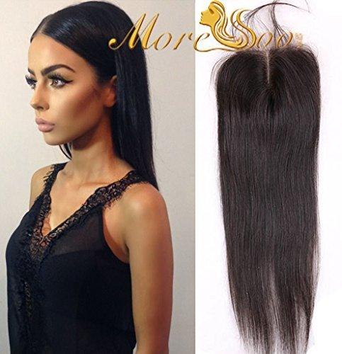 Moresoo 16pouces/40cm Bresilien Vierge Top Closure Lisse Humains Hair 3.5*4 Milieu Part Lace Closure Bleached Knots avec Bebe Cheveux