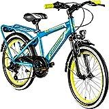 Galano 20 Zoll MTB Jugendfahrrad Adrenalin Kinderfahrrad Mountainbike, Farbe:Blau/Gelb