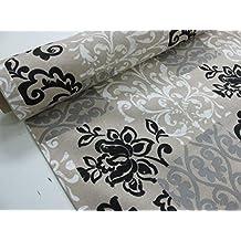 Confección Saymi - Metraje 0,50 mts. tejido loneta estampada Ref. Damasco Negro, con ancho 2,80 mts.