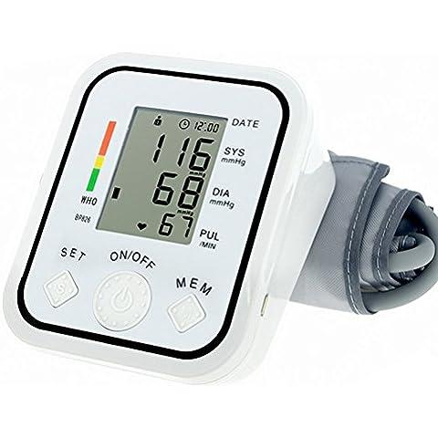 ASkliy Esfigmomanómetro/Estetoscopio de Presion Sanguinea /Tensiómetro electrónico de brazo manual/Monitor de presión arterial LCD digital Pantalla con
