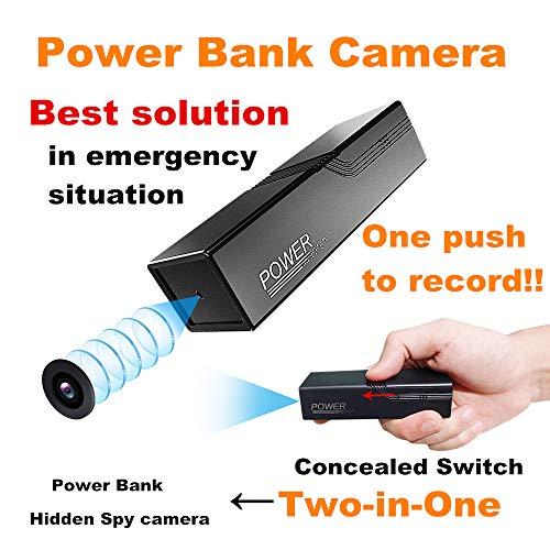 ZTour Externer Akku Versteckte Spion Kamera, Kleine Tragbare Powerbank Überwachungskamera,Energie Bank mit 3000mAh Batteries