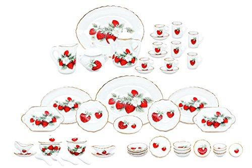 50 Stück 1:12 Miniatur Puppenhaus Ess Geschirr Porzellan Tee Set Barbie Küche Service Zubehör (Erdbeere) (Erdbeer-zubehör)