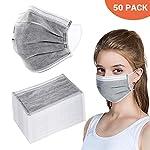 BSMEAN Maschere facciali usa e getta 50 pezzi filtro a carbone attivo a quattro strati maschere traspiranti per filtro… 51Fl6VXpIhL. SS150