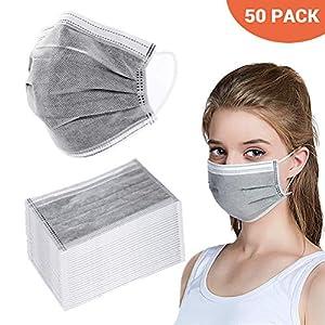 BSMEAN Maschere facciali usa e getta 50 pezzi filtro a carbone attivo a quattro strati maschere traspiranti per filtro… 51Fl6VXpIhL. SS300