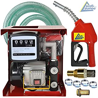 230V-Dieselpumpe Heizölpumpe Biodiesel-Pumpe SET EXELENZ-2 SELBSTANSAUGEND mit Automatik-Zapfpistole, Zählwerk, flexiblem Schlauch, Messing-Rückschlagventil, Tüllen, Schellen