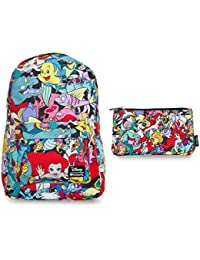 Loungefly Disney Backpack Back Pack & Pencil Case Bundle Set (The Little Mermaid Ariel Characters)