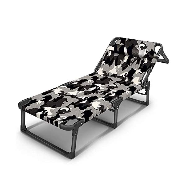 LYATW Deck Chair Set Outdoor Camouflage Adjustable Backrest Padded Patio Deck Chair With Folding,6 File Adjustment LYATW High quality material:Full padded detachable pillow can be adjusted according to your comfort. Breathable fabric offer a cool experience in a hot summer day, or you can add a cushion on this recliner gravity chair for winter use. Our adjustable chairs allow you to choose from 6 reclining positions, while an additional neck pillow provides supreme comfort on even the longest summer days. Design: This is a unique modern design chair where users can sleep, read and relax. The moment of weightlessness when lying down let the body to release pressure and have a feeling of being free from external pressure. 1