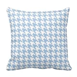 Kaixin J Blue And White Houndstooth Throw Pillow Pillowcase Cover Square 18x18 inch