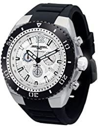 Jorg Gray Men's Quartz Watch with Silver Dial Chronograph Display and Black Silicone Strap JG9700-22