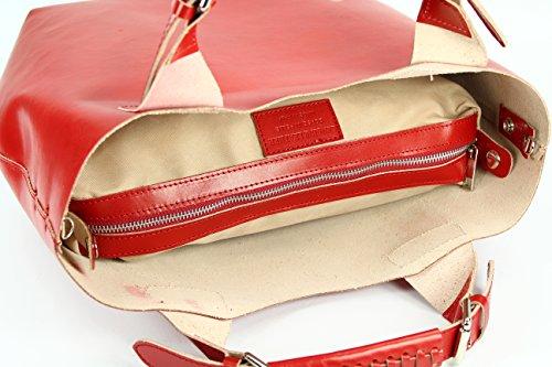 BELLI exclusive ital. Leder Handtasche Damentasche Henkeltasche Umhängetasche - Farbauswahl - 41x32x15 (B x H x T) Rot