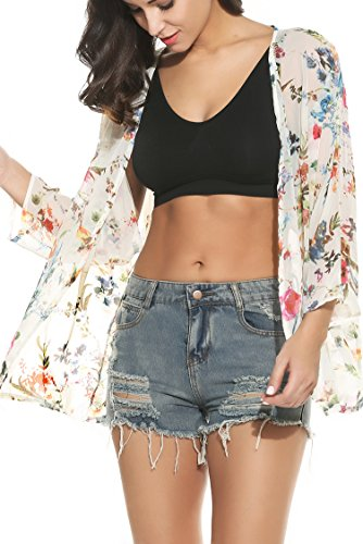 Meaneor Damen Chiffon Kimono Strandtunika Cardigan Chiffonjacke Bikini Cover Up Beachwear Blumen Druck Weiß