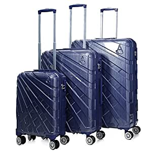 """Aerolite PCF Hard Shell Polycarbonate 8 Wheel Spinner Luggage Suitcase Travel Trolley Case With TSA Approved Combination Lock (Blue, 21"""" Cabin + 25"""" + 29"""", 3 Piece Set)"""