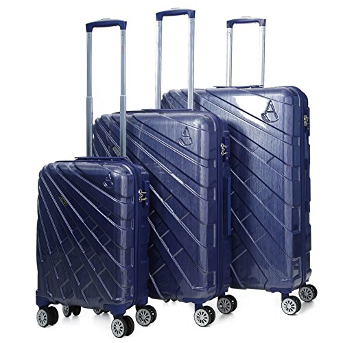 "Aerolite PCF Hard Shell Polycarbonate 8 Wheel Spinner Luggage Suitcase Travel Trolley Case With TSA Approved Combination Lock (Blue, 21"" Cabin + 25"" + 29"", 3 Piece Set)"