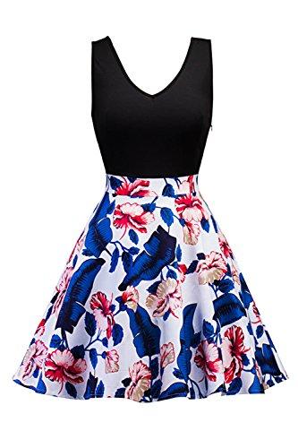 Babyonline® Damen Vintage Sommerkleider Ärmellos Casual Kleid Knielang Elegant Businesse Kleid Skaterkleid Basic Swing A Linie Partykleid Cocktailkleid 4#