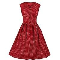 فستان GAGA نسائي بدون أكمام بأزرار زهور فستان سهرة عتيق أنيق للحفلات الراقصة احمر نبيذي X-Large