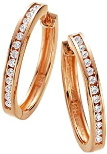 Spirit - New York Damen-Creolen Silber vergoldet rhodiniert Zirkonia weiß Brillantschliff - 94008297