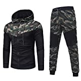 Tonsee Herren Sport Mantel Hose, Herbst Winter Warme Mode Zipper Kapuzenpulli Camouflage Strickjacke Mode Kapzen Pullover Mantel + Hosen Set Sport Anzug Slim Fit Trainingsanzug (Camouflage, XXXL(56))