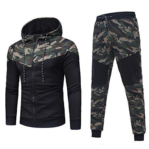 Tonsee Herren Sport Mantel Hose, Herbst Winter Warme Mode Zipper Kapuzenpulli Camouflage Strickjacke Mode Kapzen Pullover Mantel + Hosen Set Sport Anzug Slim Fit Trainingsanzug (Camouflage, XXL(54))