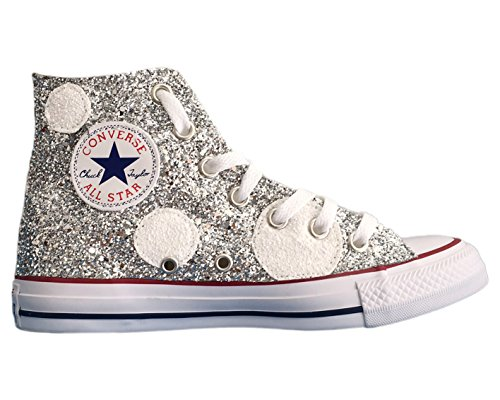 Converse All Star con applicazione pois glitter bianchi e argento Bianco