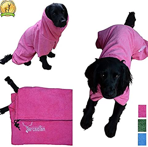 Medium Microfibre Dog Robe by Arcadian in Blue and Pink.