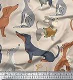 Soimoi Weiß Baumwolle Batist Stoff niedlich Hund Stoff Meterware 42 Zoll breit