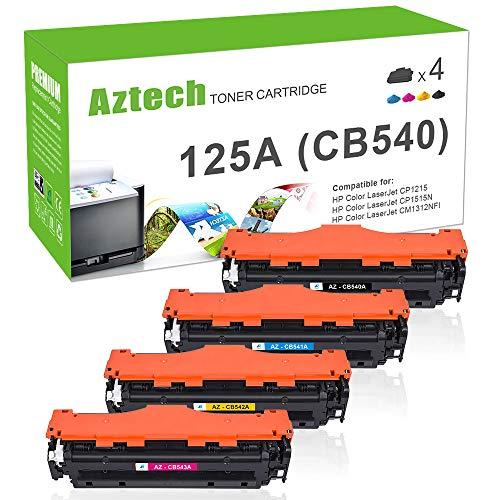Aztech 4 Pack Remanufactured für HP CB540A CB541A CB542A CB543A 125A für HP Color Laserjet CP1215 Gelb CP 1515 CP1515N CP1518NI Toner CM1312 MFP CM1312NFI MFP cm 1312 CP 1217 -