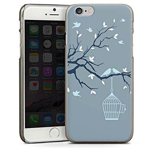 Apple iPhone 5s Housse étui coque protection Cage Oiseaux Feuilles CasDur anthracite clair
