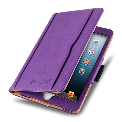ür iPad Mini | Ledertasche Flip Case [Business Tasche] Leder Smart Cover Lederhülle für iPad Mini 4. 3. 2. & 1. Generation, Lila & Honig [mit Eingabestift & Pencil Halter] ()