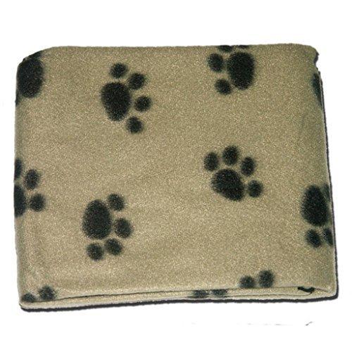 katzeninfo24.de Hunde-/ Katzendecke, weich, warm, Fleece, Pfotenmuster, Beige