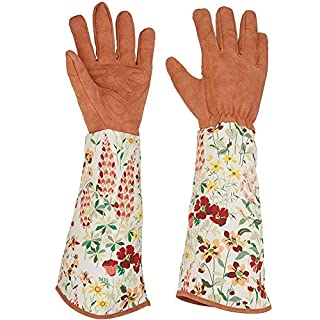 Leather Rose Pruning Gardening Gloves Puncture Resistant Yard Work Gloves Thorn Proof Gloves FAUX SUEDE for Unisex Men & Women Gardener Plant Care (1)