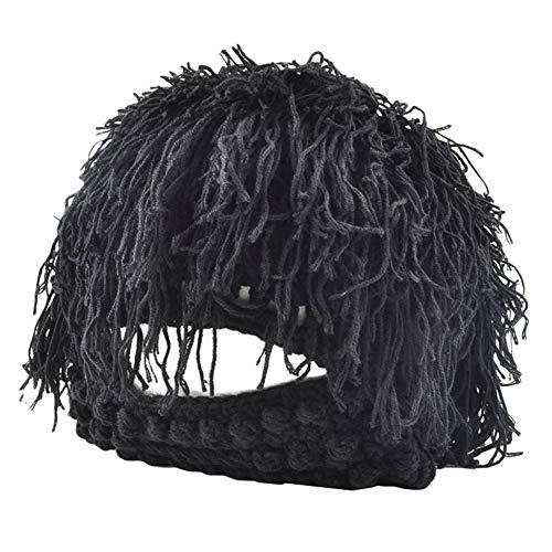 Caveman Maske - Kunsthaarperücke, kreatives Wollgarn, gestrickt, Hobo Caveman,