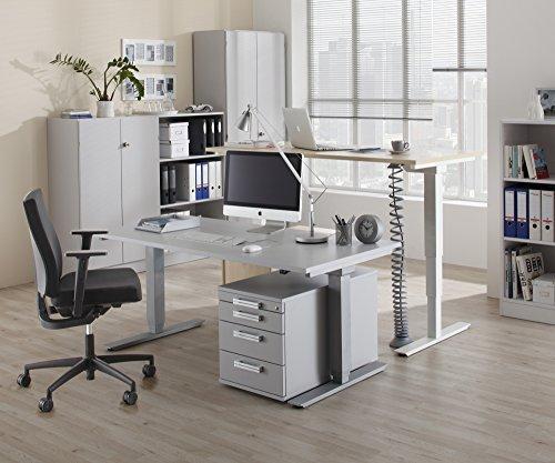 Bümö® Office Aktenregal aus Holz   Büroregal für Aktenordner   Regal System für Ordner   Bücherregal inkl. Einlegeböden (Weiß, Breite = 100 cm   5 Ordnerhöhen)