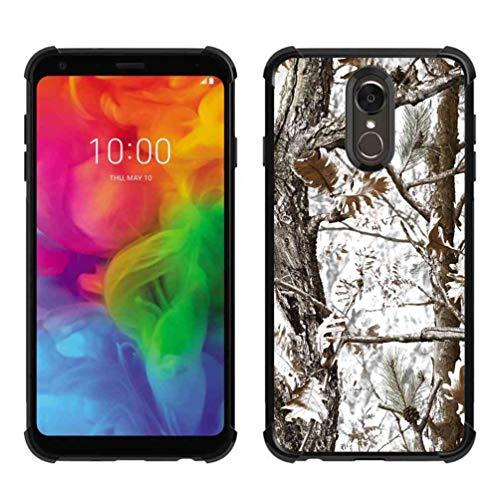 LG Q7 Hülle, LG Q7 Plus Hülle, ABLOOMBOX Stoßdämpfung, weiche Stoßdämpfung, dünne Gummi-Schutzhülle mit verstärkten Ecken für LG Q7 / Q7 Plus / Q7 Alpha, Hunting Camo Camouflage Winter Tree Pattern