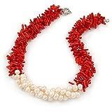 Avalaya Déclaration 3brins torsadés Corail Rouge et crème Collier de perles d'eau douce avec Argenté Fermoir à ressort-44cm-L