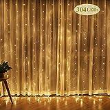 Rideau de guirlande LED 3 m x 3 m Étanche étoiles LED Guirlande Lumineuse Rideau Lumineuse pour jardin, mariage, fêtes, intérieur (blanc chaud)