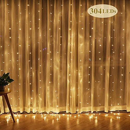 LED Lichterkettenvorhang, Lichtervorhang, 3m*3m wasserfest Sternen LED Lichterkette Lichtervorhang für Garten, Hochzeit, Party Festen, Innen (Warmweiß) - Netzkabel Reißverschluss