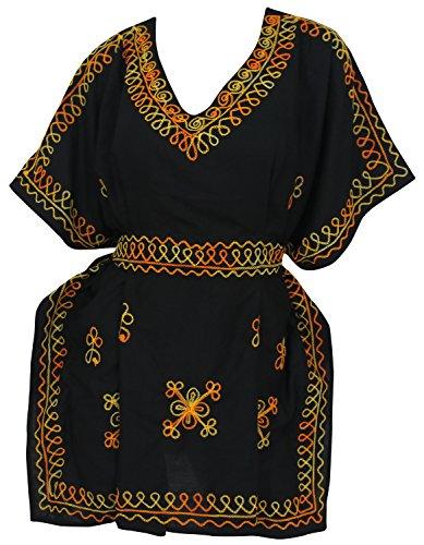 La Leela Rayonne, plus la taille brodé v-cou plaine courte caftan caftan noir