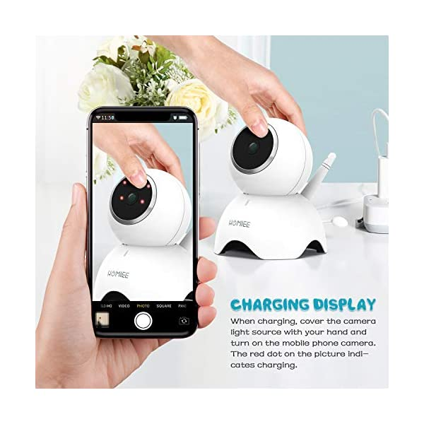 HOMIEE 720P Camera Exclusive for HOMIEE Baby Monitor, Two Way Audio, Night Vision, VOX, Lullaby, Sound & Temperature Alert, 1000ft Connection (Additional Camera) HOMIEE 【Version Compatibility】This additional camera is only compatible with HOMIEE Baby Monitor White (ASIN: B07W8NFSPX). If you don't know how to pair, please contact us, we will send you instructions. 【Night Vision】The baby camera features an invisible IR LED sensor for Infrared Night Vision (range can up to 5 meters) to deliver clear videos in darkness without disturbing the baby. it will alarm when baby is crying and temperature gets too high or too low. 【355 -Degree Omnidirectional Coverage】The camera can be wireless controlled to rotate about 355 degree horizontally, to bow and lie down between 70 degree at most. HOMIEE video baby monitor also supports zoom for closer views on screen. 6