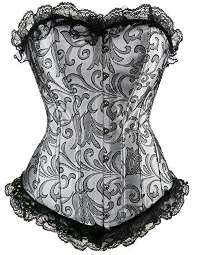 Damen Leder Bustier (KUOSE Damen Schwarz Weiß Body Shaper Vollbrust Corsage Top Übergrößen)