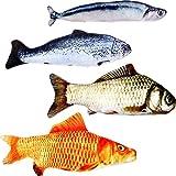 4 Pezzi Giocattoli Catnip Felpa Pesce Simulata Gatto Giocattoli per Cani e Gatti, 4 Tipi